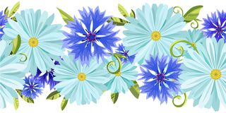 Vector horizontal seamless background with light blue daisies and blue, lilac cornflowers. And green leaves on a white background vector illustration