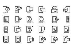 Mobile Vector Line Icons 4 Stock Photo