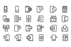 Mobile Vector Line Icons 3 Stock Photo