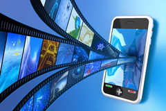 Mobile video. Film images moving into the mobile phone. Hi-res digitally generated image Royalty Free Stock Photography