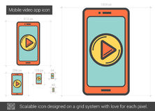 Mobile video app line icon. Mobile video app vector line icon isolated on white background. Mobile video app line icon for infographic, website or app. Scalable Royalty Free Stock Photography