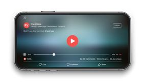 Mobile Video Player Vector UI Concept. For Social Network on Photo Realistic Frameless Smartphone Screen Isolated on White Background. Online TV Watching on stock illustration