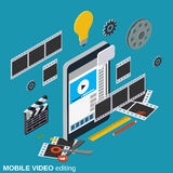 Mobile video production, editing, montage vector concept. Mobile video production, editing, montage flat 3d isometric vector concept illustration Stock Photography