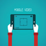 Mobile video vector concept in flat style.  Stock Photos