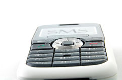 Mobile wait for sms 2. Mobile object for any techology layout extreme close up ,you can see the metal texture Royalty Free Stock Photos
