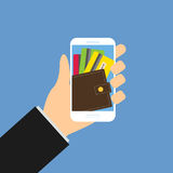 Mobile wallet with cards, Hand hold smartphone 1 Royalty Free Stock Image