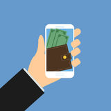 Mobile wallet with money, Hand hold smartphone 1 Stock Photography