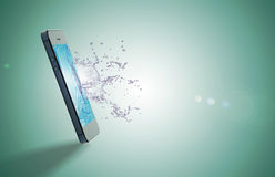 Mobile and water drop. Mobiles and water drop on monitor royalty free stock images
