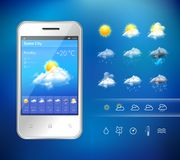 Mobile weather application Stock Image