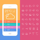 Mobile Weather Application Screen with icon set Stock Photography