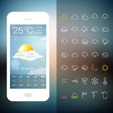 Mobile Weather Application Screen with icon set Stock Images