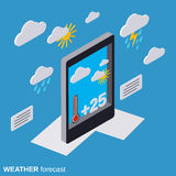 Mobile weather forecast vector illustration Royalty Free Stock Images