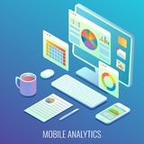 Mobile web analytics concept vector flat isometric illustration. Mobile analytics process of monitoring and collecting the data via desktop computer and vector illustration