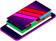 Mobile web app presentation 3D floating layers on top of mobile screen Royalty Free Stock Photo