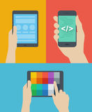 Mobile web design flat illustration Royalty Free Stock Photography