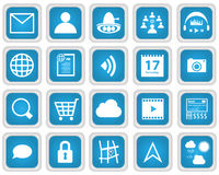 Mobile Web Services Icon set. 20 EPS8 Vector icons in blue style royalty free illustration