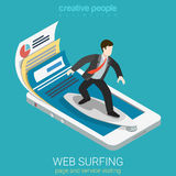 Mobile web surfer infographics flat 3d vector isometric. Flat 3d isometric mobile web surfer infographics concept. Businessman surfing on surfboard webpage set Stock Photos