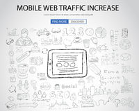 Mobile web traffic concept with Doodle design style Stock Photos