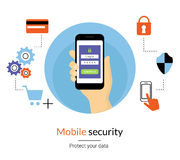 Mobile website authentication concept illustration Stock Images