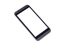 Mobile with white screen on isolated background. Mobile smartphone with white screen on isolated background Royalty Free Stock Photography