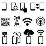 Mobile and wifi icon set. Cell phone, wireless, mobile and wifi icon set Stock Photography
