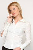 Mobile woman. She is mobile woman in office Royalty Free Stock Photos