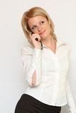 Mobile woman. She is mobile woman in office Royalty Free Stock Photo