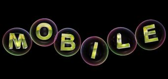 The mobile word in bubble. The mobile word in soap bubble on black background,3d rendered Stock Image