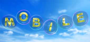 The mobile word in bubble. The mobile word in soap bubble on blue sky background,3d rendered Royalty Free Stock Photos