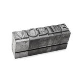 Mobile word, letterpress Royalty Free Stock Photography