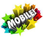 Mobile Word Stars Smart Phone Tablet Wireless Technology Royalty Free Stock Image