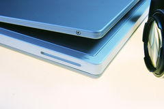 Mobile work. Laptop angle and camera royalty free stock photo