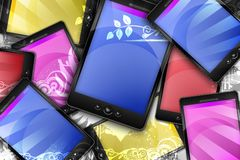 Mobile World. Colorful PDA Phones with Floral Ornaments. Modern Technology Theme Stock Photography