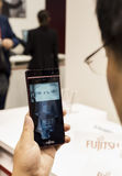 MOBILE WORLD CONGRESS 2015 - FUJITSU EYES RECOGNITION Royalty Free Stock Photography