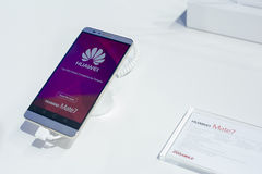 MOBILE WORLD CONGRESS 2015 - HUAWEI MATE 7 Stock Images