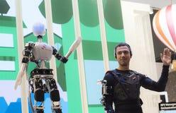 MOBILE WORLD CONGRESS 2015 - ROBOT. SK Telecom Sensor Robot exposed during the Mobile World Congress 2015 that celebrates on days 2-5 MArch 2015 in Barcelona Stock Photo