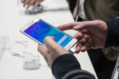 MOBILE WORLD CONGRESS 2015 - SAMSUNG GALAXY NOTE EDGE Royalty Free Stock Images