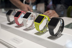 MOBILE WORLD CONGRESS 2015 - SONY SMART WATCH 3 Royalty Free Stock Photography