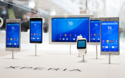 MOBILE WORLD CONGRESS 2015 - XPERIA PRODUCTS. New Sony Xperia products exposed during the Mobile World Congress 2015 that celebrates on days 2-5 MArch 2015 in Royalty Free Stock Photo