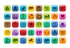 Mobilen App knäppas symbolsuppsättningen Arkivbilder