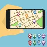 Mobilen kartlägger Royaltyfria Bilder