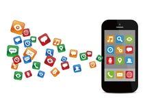 Mobilen ringer med färgrika applikationsymboler Arkivbild