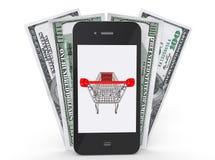 Mobilen ringer med pengar royaltyfri illustrationer