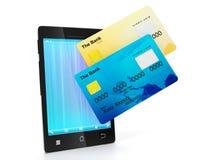 Mobilen ringer och en grupp av kreditkortar Arkivfoton