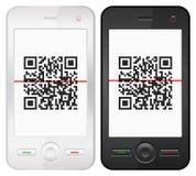 Mobilen ringer, och QR bommar för kodifierar Arkivfoto