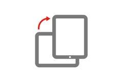 Mobilen roterar, flipskärmen, minnestavla med pilen Vektorbegrepp som isoleras på vit bakgrund Royaltyfria Foton