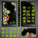 Mobilephone Theme. Illustration of mobile phone theme with colorful background and application button Royalty Free Stock Image