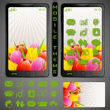 Mobilephone Theme. Illustration of mobile phone theme with colorful background and application button Royalty Free Stock Images