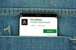 mobiler App auf Samsung s8 stockbild