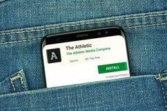 mobiler App auf Samsung s8 lizenzfreie stockbilder
